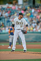 Salt Lake Bees starting pitcher Nick Tropeano (43) looks to his catcher for the sign against the Las Vegas Aviators at Smith's Ballpark on July 20, 2019 in Salt Lake City, Utah. The Aviators defeated the Bees 8-5. (Stephen Smith/Four Seam Images)