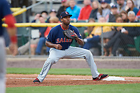 Salem Red Sox first baseman Josh Ockimey (30) waits for a throw during the first game of a doubleheader against the Potomac Nationals on May 13, 2017 at G. Richard Pfitzner Stadium in Woodbridge, Virginia.  Potomac defeated Salem 6-0.  (Mike Janes/Four Seam Images)