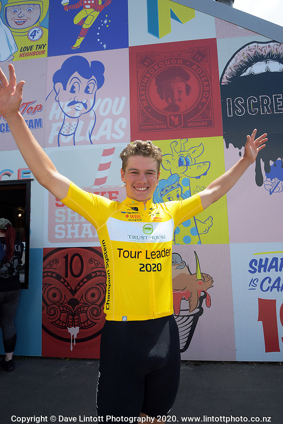 Tour leader Jensen Plowright (Australia/Team BridgeLane) after stage three of the NZ Cycle Classic UCI Oceania Tour (Martinborough circuit) in Wairarapa, New Zealand on Friday, 17 January 2020. Photo: Dave Lintott / lintottphoto.co.nz