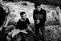 Darband, Iran, April 11, 2007.Darband valley in the northern outskirts of Teheran is a popular promenade, a steep path along a whitewater creek rushing down Alborz mountains. Teenagers enjoying free time.