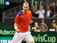 September 14, 2014, Netherlands, Amsterdam, Ziggo Dome, Davis Cup Netherlands-Croatia, Thiemo de Bakker (NED)<br /> Photo: Tennisimages/Henk Koster