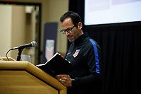 Bradenton, FL : Tony Lepore speaks to US Soccer athletes during a presentation in Bradenton, Fla., on January 4, 2018. (Photo by Casey Brooke Lawson)