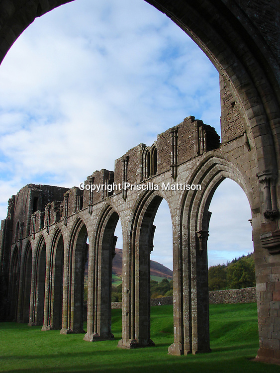 Llanthony, Wales - November 2, 2006:  The ruins of Llanthony Priory are open to the sky.