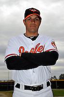 Feb 27, 2010; Tampa, FL, USA; Baltimore Orioles  infielder Brian Roberts (1) during  photoday at Ed Smith Stadium. Mandatory Credit: Tomasso De Rosa