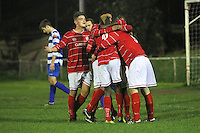 Clapton score their second goal and celebrate - Clapton vs Ilford - Essex Senior League Football at the Old Spotted Dog Ground, Upton Park, London - 01/10/13 - MANDATORY CREDIT: Gavin Ellis/TGSPHOTO - Self billing applies where appropriate - 0845 094 6026 - contact@tgsphoto.co.uk - NO UNPAID USE