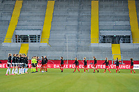 team Belgium entering the field before a friendly female soccer game between the national teams of Germany and  Belgium , called the Red Flames  in a pre - bid tournament called Three Nations One Goal with the national teams from Belgium , The Netherlands and Germany towards a bid for the hosting of the 2027 FIFA Women's World Cup , on Sunday 21 st of February 2021  in Aachen , Germany . PHOTO SPORTPIX.BE   SPP   STIJN AUDOOREN