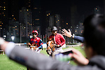 Jockey #7 Matthew Chadwick riding The Golden Age (L) celebrates after winning the race 9 of Hong Kong Racing at Happy Valley Race Course on December 06, 2017 in Hong Kong, Hong Kong. Photo by Marcio Rodrigo Machado / Power Sport Images