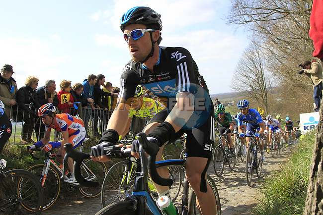 The peloton including Bernhard Eisel (AUT) Sky Procycling climbs Koppenberg during the 96th edition of The Tour of Flanders 2012, running 256.9km from Bruges to Oudenaarde, Belgium. 1st April 2012. <br /> (Photo by Eoin Clarke/NEWSFILE).