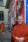 18 JUNE 2015, Mandalay, Myanmar:  969 activist Monk Wirathu during some relaxation time with other monks outside his quarters in the Masoeyein Monastery in Mandalay, Myanmar. Picture Graham Crouch/The Australian Magazine