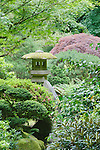 Concrete lantern in dense foliage of Japanese Garden.  The Japanese Garden in Portland is a 5.5 acre respit.  Said to be one of the most authentic Japanese Garden's outside of Japan, the rolling terrain and water features symbolize both peace and strength.