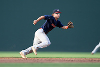 Greenville High grad Will Baumhofer (2), of the Greer Warhawks, a College of Charleston commit, tracks a ground ball in a South Carolina American League game against the Simpsonville Dawgs on Tuesday, August 11, 2020, at Fluor Field at the West End in Greenville, South Carolina. Greer won, 9-2, winning the second round of playoffs. (Tom Priddy/Four Seam Images)