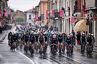 rained down peloton passing through the village of Borgo d'Ale<br /> <br /> 104th Giro d'Italia 2021 (2.UWT)<br /> Stage 3 from Biella to Canale (190km)<br /> <br /> ©kramon