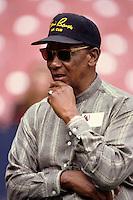 Former Chicago Cub and HOF Ernie Banks at Anaheim Stadium in Anaheim,California during the 1996 season. (Larry Goren/Four Seam Images)