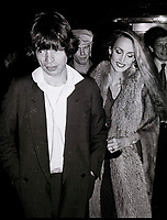 Jagger Hall7062.JPG<br /> New York, NY 1978 FILE PHOTO<br /> Mick Jagger, Jerry Hall<br /> Studio 54<br /> Digital photo by Adam Scull-PHOTOlink.net<br /> ONE TIME REPRODUCTION RIGHTS ONLY<br /> NO WEBSITE USE WITHOUT AGREEMENT<br /> 718-487-4334-OFFICE  718-374-3733-FAX