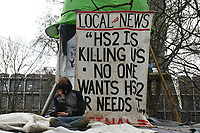 General view as a protester looks on during a protest against the construction of the HS2 railway line at Euston Square Gardens on 27th January 2021