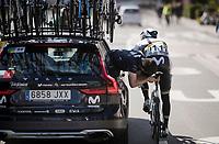 mid-race saddle adjustment for world champion Alejandro Valverde (ESP/Movistar)<br /> <br /> 74th Dwars door Vlaanderen 2019 (1.UWT)<br /> One day race from Roeselare to Waregem (BEL/183km)<br /> <br /> ©kramon