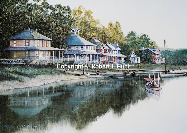 """Small steamboat used at Lake Conemaugh near Johnstown PA, sailing the lake in summer past Victorian houses at the  before the Johnstown Flood of 1889. Oil on canvas, 14"""" x 20'."""
