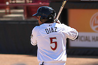 Wisconsin Timber Rattlers outfielder Brandon Diaz (5) waits on deck during a game against the Cedar Rapids Kernels on April 23rd, 2015 at Fox Cities Stadium in Appleton, Wisconsin.  Cedar Rapids defeated Wisconsin 3-0.  (Brad Krause/Four Seam Images)