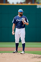 Columbus Clippers starting pitcher Stephen Fife (47) looks in for the sign during a game against the Gwinnett Stripers on May 17, 2018 at Huntington Park in Columbus, Ohio.  Gwinnett defeated Columbus 6-0.  (Mike Janes/Four Seam Images)