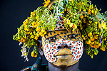 Tribespeople show off their colourful, chalk-painted faces and remarkable headdresses of flowers. Members of the Suri tribe, who have lived on the border of between Ethiopia and Sudan for hundreds of years, posed for the unusually intimate portraits.<br /> <br /> The tribe is one of 3,000 still living in Africa and practicing traditional methods of living and decoration and the pictures were taken by photographer Kurt Müller when he visited them.  SEE OUR COPY FOR DETAILS.<br /> <br /> Please byline: Kurt Mueller/Solent News<br /> <br /> © Kurt Mueller/Solent News & Photo Agency<br /> UK +44 (0) 2380 458800