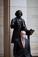 United States Senate Minority Leader Chuck Schumer (Democrat of New York) stands beside the statue of Frederick Douglass before an event to commemorate the life of George Floyd, Ahmaud Arbery and Breonna Taylor and to stand in solidarity with Americans all across the country peacefully protesting racial injustice in the Emancipation Hall of the Capitol Visitor Center on Capitol Hill in Washington, District of Columbia on Thursday, June 4, 2020. <br /> Credit: Ting Shen / CNP/AdMedia