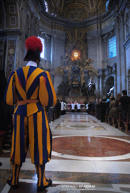 Pontifical Swiss Guard.The Corps of the Pontifical Swiss Guard or Swiss Guard,Guardia Svizzera Pontificia,responsible for the safety of the Pope, including the security of the Apostolic Palace. It serves as the de facto military of Vatican City..Pope Benedict XVI arrives to celebrate a Mass in memory of the late Pope John Paul II on the second anniversary of his death, at St. Peter's Basilica at the Vatican, Monday, April 2, 2007. Roman Catholics marked the second anniversary of Pope John Paul II's death Monday with vigils in his native Poland and a ceremony earlier in Rome to seal shut - with red ribbons and wax - documents on the pope's life that are vital to making him a saint..05/11/2009.