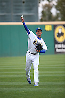 Yaisel Sierra (19) of the Rancho Cucamonga Quakes throws in the outfield before pitching against the High Desert Mavericks at LoanMart Field on April 30, 2016 in Rancho Cucamonga, California. Rancho Cucamonga defeated High Desert, 7-6. (Larry Goren/Four Seam Images)