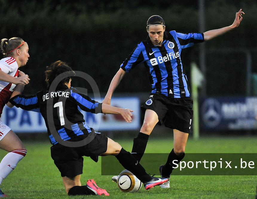 20130830 - VARSENARE , BELGIUM : Brugges's Heleen Jaques (r) pictured during the female soccer match between Club Brugge Vrouwen and Ajax Amsterdam Dames , of the first matchday in the BENELEAGUE competition. Friday 30 August 2013. PHOTO DAVID CATRY