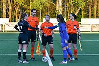 Captain Chloe Van Mingeroet (17) of Eendracht Aalst gives a fist bump to captain Sien Vandersanden (10) of KRC Genk before a female soccer game between  Racing Genk Ladies and Eendracht Aalst on the 5 th matchday of play off 2 in the 2020 - 2021 season of Belgian Scooore Womens Super League , friday 7 th of May 2021  in Genk , Belgium . PHOTO SPORTPIX.BE | SPP | JILL DELSAUX