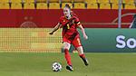 v.li.: Tessa Wullaert (Belgien, 9) am Ball, Freisteller, Einzelbild, Ganzkörper, Aktion, Action, Spielszene, DIE DFB-RICHTLINIEN UNTERSAGEN JEGLICHE NUTZUNG VON FOTOS ALS SEQUENZBILDER UND/ODER VIDEOÄHNLICHE FOTOSTRECKEN. DFB REGULATIONS PROHIBIT ANY USE OF PHOTOGRAPHS AS IMAGE SEQUENCES AN/OR QUASI-VIDEO., 21.02.2021, Aachen (Deutschland), Fussball, Länderspiel Frauen, Deutschland - Belgien <br /> <br /> Foto © PIX-Sportfotos *** Foto ist honorarpflichtig! *** Auf Anfrage in hoeherer Qualitaet/Aufloesung. Belegexemplar erbeten. Veroeffentlichung ausschliesslich fuer journalistisch-publizistische Zwecke. For editorial use only.
