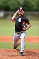 Miami Marlins pitcher Jacob Turner (33) during a minor league spring training game against the New York Mets on March 28, 2014 at Roger Dean Stadium in Jupiter, Florida.  (Mike Janes/Four Seam Images)