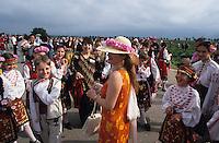 BULGARIA Kazanlak, people celebrate the annual rose harvest festival during harvest time of damascena rose in the rose valley , the rose blossom are distilled for essential oil and rose water which is used for cosmetics and perfume / BULGARIEN Kazanlak, Menschen feiern das jaehrliche Rosenfest in der Erntezeit der Damascena Rose , aus den Rosenblaettern wird Rosenwasser und Rosenoel destilliert, die als Grundstoff fuer Kosmetika und Parfuem verwendet werden - <br /> MORE PICTURES AVAILABLE!