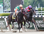 June 8, 2013. #12 Can't Catch Me Now, Edgar Prado up, wins race 4, a one-mile race for maidens 3 and older foaled in NY state. #1 El Genio, Luis Saez up (inside) was second.  Belmont Park, Elmont, New York (Joan Fairman Kanes/Eclipse Sportswire)