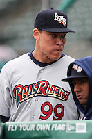 Scranton/Wilkes-Barre RailRiders right fielder Aaron Judge (99) in the dugout during a International League game against the Rochester Red Wings on May 1, 2016 at Frontier Field in Rochester, New York. Rochester defeated Scranton 1-0.  (Christopher Cecere/Four Seam Images)