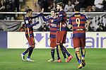 FC Barcelona's Neymar Jr, Leo Messi, Gerard Pique and Luis Suarez celebrate goal during La Liga match. March 3,2016. (ALTERPHOTOS/Acero)