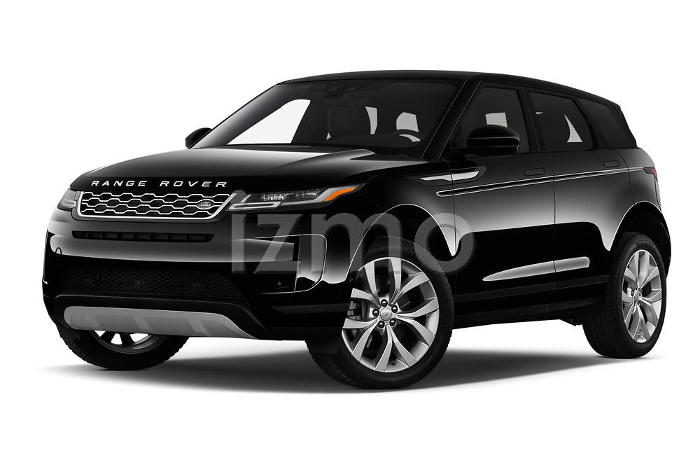 Stock pictures of low aggressive front three quarter view of 2020 Land Rover Range-Rover-Evoque SE 5 Door SUV Low Aggressive
