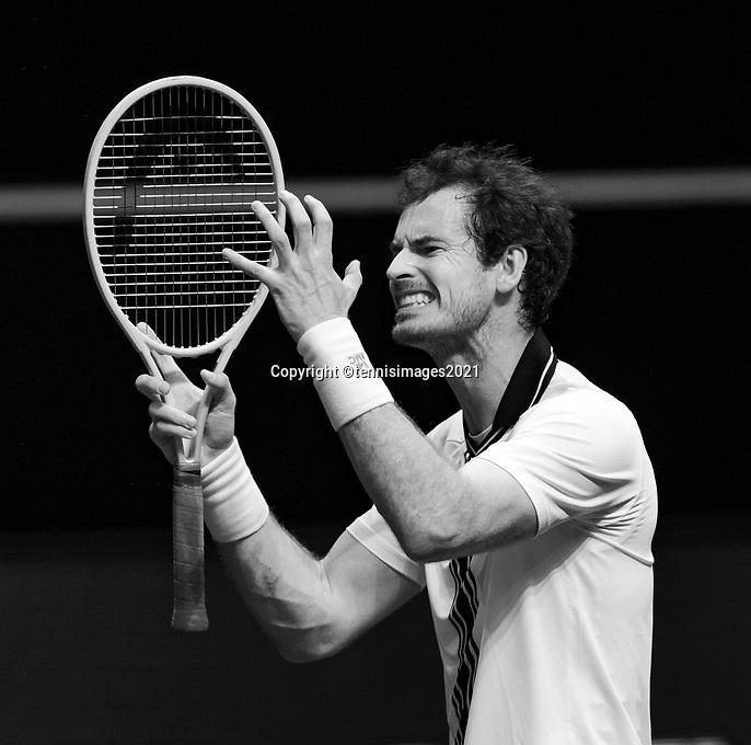 Rotterdam, The Netherlands, 3 march  2021, ABNAMRO World Tennis Tournament, Ahoy, Second round match:  Andy Murray (GBR).<br /> Photo: www.tennisimages.com/henkkoster