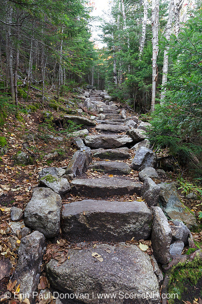 Stone staircase along the Mt Tecumseh Trail in the New Hampshire White Mountains during the autumn months. This stone staircase was built in 2017.