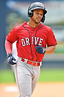 Greenville Drive Brandon Howlett (35) rounds the bases after hitting a home run during a game against the Asheville Tourists on July 18, 2021 at McCormick Field in Asheville, NC. (Tony Farlow/Four Seam Images)