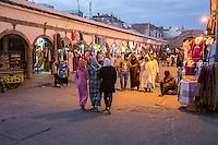 Essaouira, Morocco.  Evening Street Scene, Ave. Mohamed Zerktouni