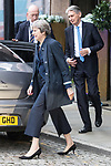 © Joel Goodman - 07973 332324 . 02/10/2017. Manchester, UK. Chancellor PHILIP HAMMOND and Prime Minster THERESA MAY leave for a visit in Manchester on the morning of the second day of the Conservative Party Conference at the Manchester Central Convention Centre . Photo credit : Joel Goodman