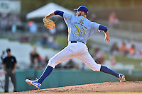Tennessee Smokies starting pitcher Tyler Skulina (33) delivers a pitch during a game against the Mississippi Braves at Smokies Stadium on May 7, 2016 in Kodak, Tennessee. The Smokies defeated the Braves 5-3. (Tony Farlow/Four Seam Images)