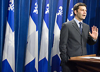 Quebec City, April 18, 2007 - Mario Dumont reacts to the new Liberal cabinet in a press conference at the National assembly in Quebec City April 18, 2007. The cabinet is one of the smallest of the recent years and includes an equal number of men and women.<br /> <br /> PHOTO :  Francis Vachon - Agence Quebec Presse