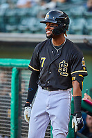 Jo Adell (7) of the Salt Lake Bees waits to bat against the Tacoma Rainiers at Smith's Ballpark on May 13, 2021 in Salt Lake City, Utah. The Rainiers defeated the Bees 15-5. (Stephen Smith/Four Seam Images)