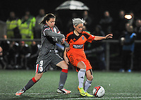 20131017 - GLASGOW , SCOTLAND : Standard's Sanne Schoenmakers (left) pictured in a duel with Glasgow's Jessica Fishlock  during the female soccer match between GLASGOW City Ladies FC and STANDARD Femina de Liege , in the 1/16 final ( round of 32 ) second leg in the UEFA Women's Champions League 2013 in Petershill Park in Glasgow. First leg ended in a 2-2 draw . Thursday 17 October 2013. PHOTO DAVID CATRY