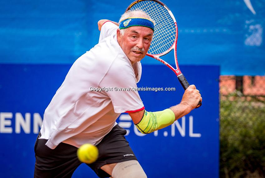 Hilversum, The Netherlands,  August 20, 2021,  Tulip Tennis Center, NKS, National Senior Tennis Championships, Men's Single 65+,  Frans de Haan (NED)<br /> Photo: Tennisimages/Henk Koster