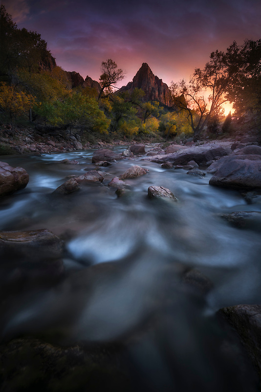 Colorful sunset in Zion National Park, UT