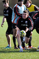 20130131 Copyright onEdition 2013©.Free for editorial use image, please credit: onEdition..Ben Spencer trains during the Saracens Captains Run at Old Albanians Rugby Club, St Albans on Thursday 31st January 2013 (Photo by Rob Munro)..For press contacts contact: Sam Feasey at brandRapport on M: +44 (0)7717 757114 E: SFeasey@brand-rapport.com..If you require a higher resolution image or you have any other onEdition photographic enquiries, please contact onEdition on 0845 900 2 900 or email info@onEdition.com.This image is copyright onEdition 2013©..This image has been supplied by onEdition and must be credited onEdition. The author is asserting his full Moral rights in relation to the publication of this image. Rights for onward transmission of any image or file is not granted or implied. Changing or deleting Copyright information is illegal as specified in the Copyright, Design and Patents Act 1988. If you are in any way unsure of your right to publish this image please contact onEdition on 0845 900 2 900 or email info@onEdition.com