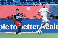 FOXBOROUGH, MA - JULY 9: Damian Rivera #72 of New England Revolution II takes a shot during a game between Toronto FC II and New England Revolution II at Gillette Stadium on July 9, 2021 in Foxborough, Massachusetts.