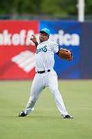 Tampa Tarpons left fielder Isiah Gilliam (24) throws from the outfield during a game against the Lakeland Flying Tigers on April 8, 2018 at George M. Steinbrenner Field in Tampa, Florida.  Lakeland defeated Tampa 3-1.  (Mike Janes/Four Seam Images)